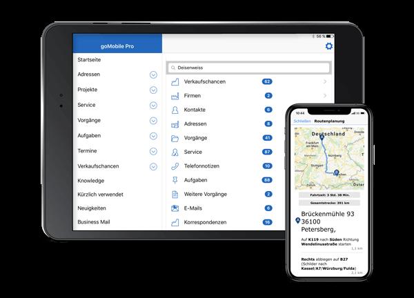 goMobile Pro CRM App: Auf dem Tablet und Smartphone