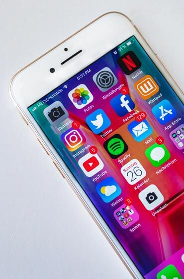 Social-Media-Icons auf Smartphone