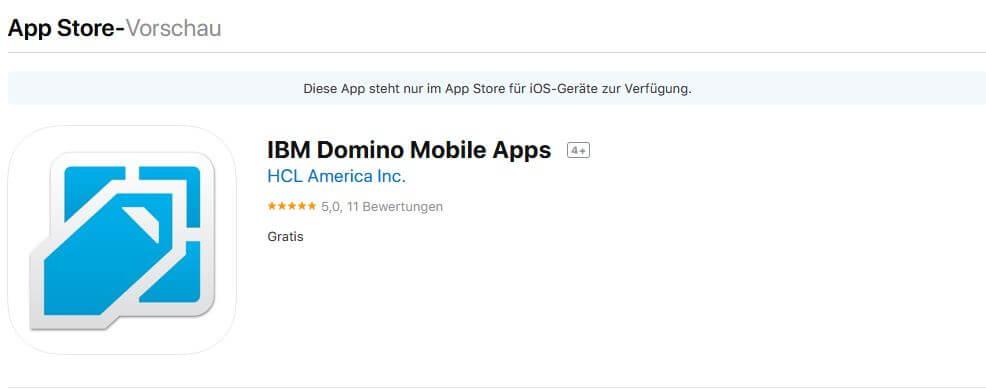 IBM Domino Mobile Apps im AppStore
