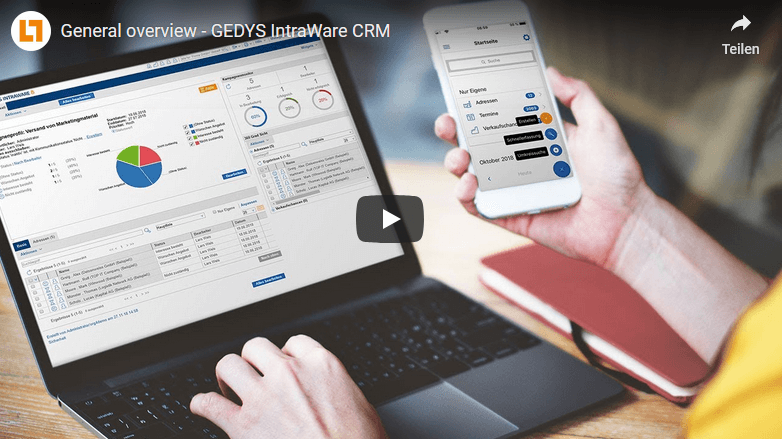 Video CRM software General overview of GEDYS IntraWare CRM
