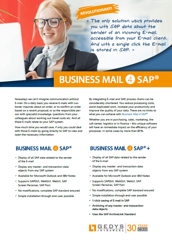 Frontpage Flyer BusinessMail4SAP, GEDYS IntraWare