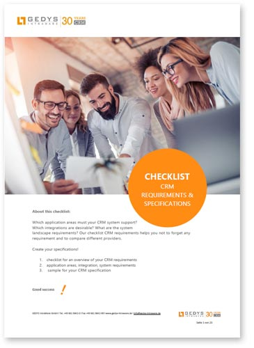 "title image to checklist ""CRM request overview"" from GEDYS Intraware"