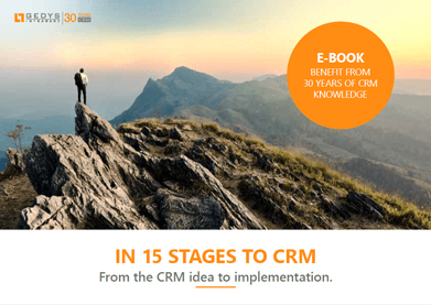 """e-book title image, """"In 15 stages to CRM"""", GEDYS intraWare"""