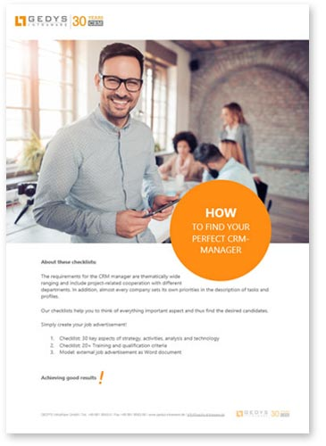 "title image to checklist ""how to find your perfect CRM manager"" from GEDYS Intraware"