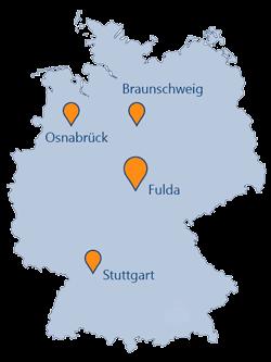 GEDYS IntraWare Standorte Deutschland