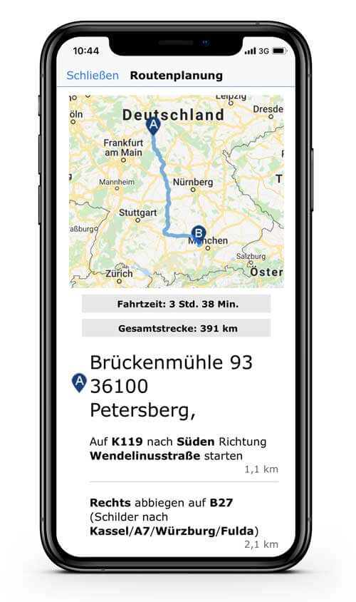 CRM App: goMobile Pro: Routenplanung