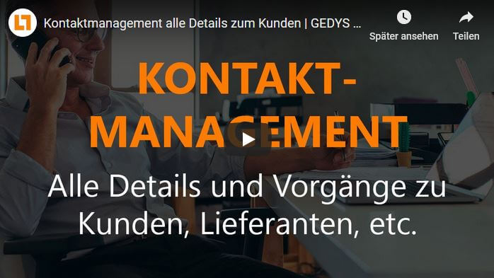 Video: Kontaktmanagement alle Details zum Kunden | GEDYS IntraWare CRM