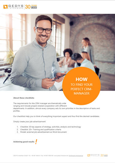 How to find the perfect CRM manger, screenshot title, GEDYS Intraware