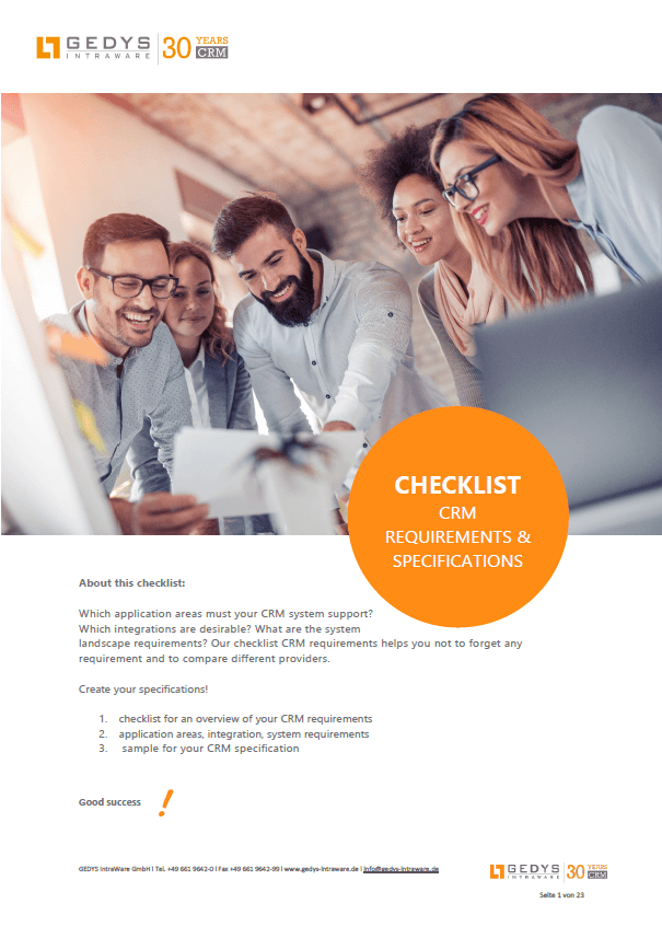 Screenshot Checklist: CRM Request Overview and specifications, GEDYS IntraWare