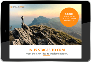 "title image to ""In-15-Stages-to-CRM"" on tablet, GEDYS intraWare"