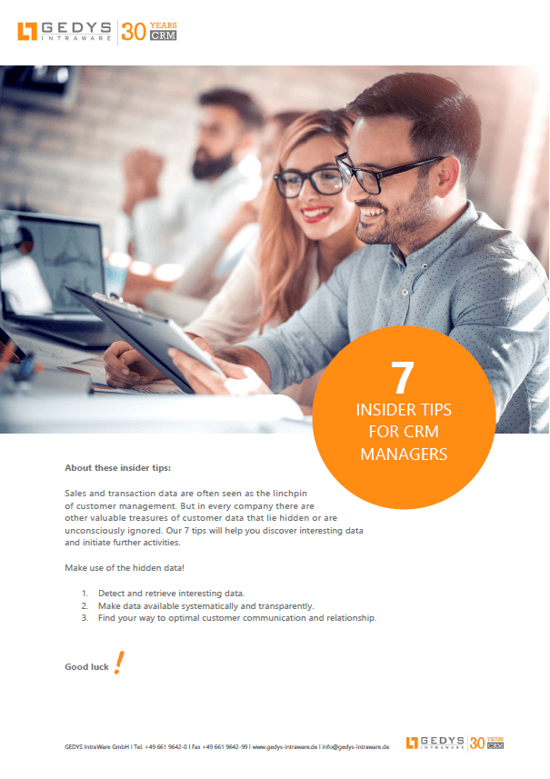 Screenshot white paper: 7 Tips for CRM manager, GEDYS IntraWare