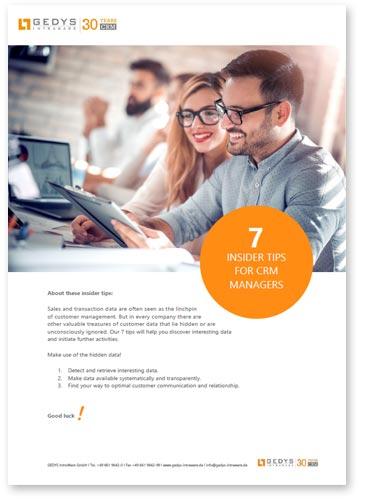 "title image to white paper ""7 Tips for CRM manager"" from GEDYS Intraware"