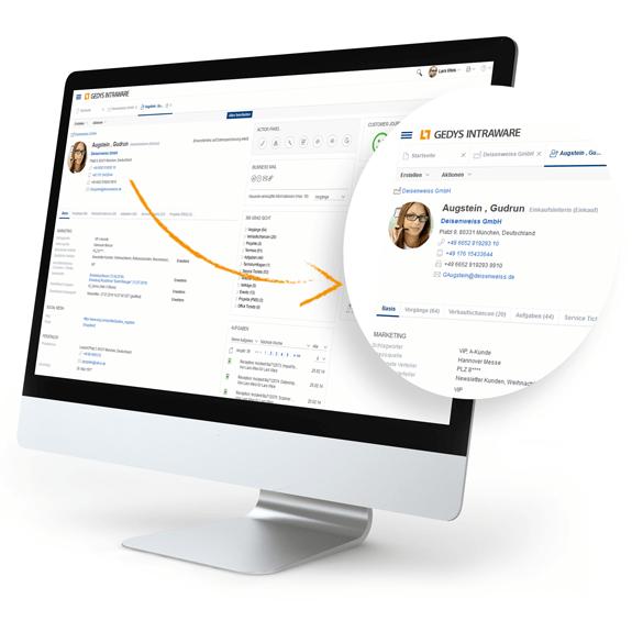 Desktop mit neuem Design des Release 8.11 von GEDYS-IntraWare