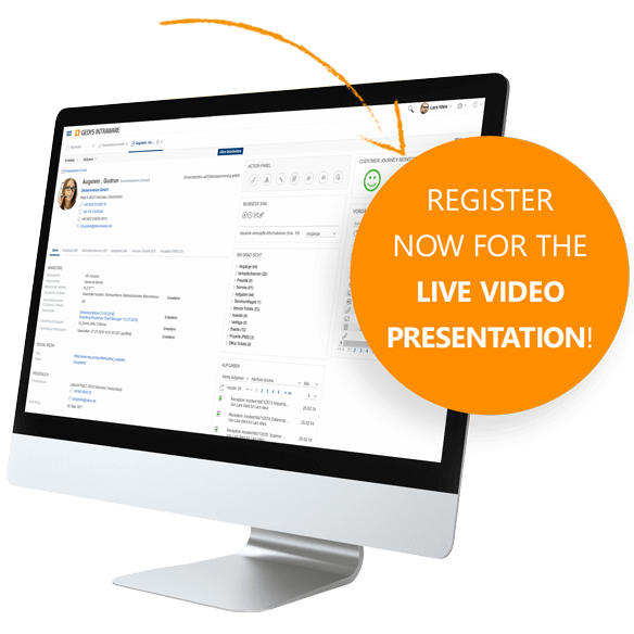 CRM Software Release 8.11: Registration for Live-Videoconference from GEDYS IntraWare
