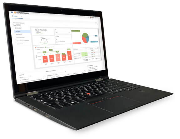 Dashboard im CRM-Release 8.11 auf Laptop, GEDYS IntraWare