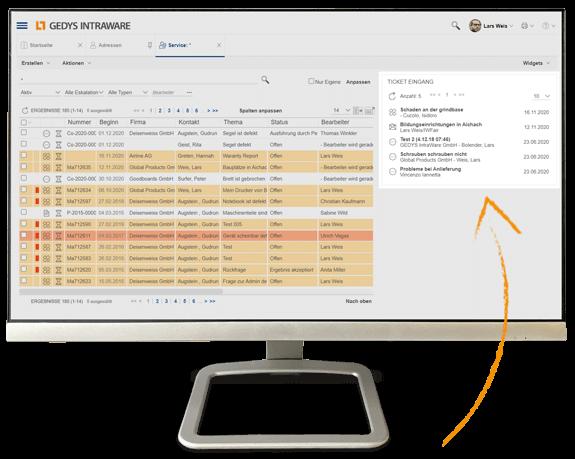 CRM für Service und IT: 360-Grad-Überblick auf Desktop, GEDYS-IntraWare