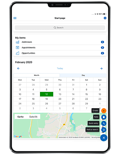 Mobile CRM-App: Dashboard on ipad from GEDYS-IntraWare