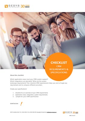 Title - Checklist CRM requirements from GEDYS IntraWare