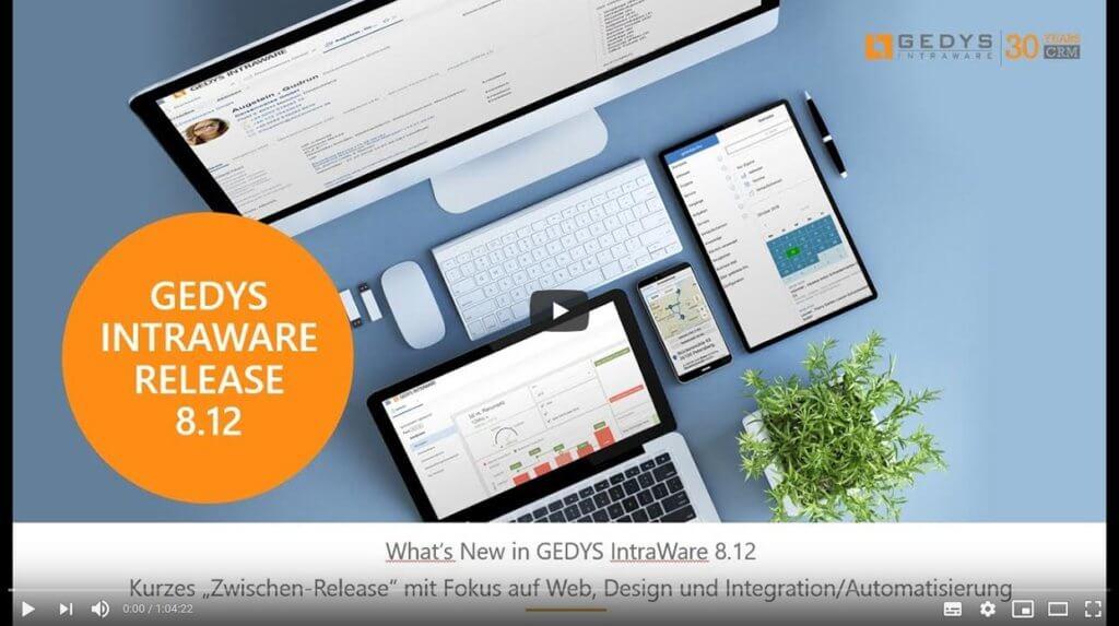 Startbild der Aufzeichnung zur Videokonferenz zum Release 8.12 von GEDYS IntraWare