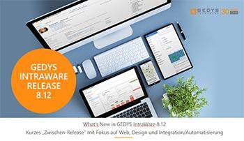 Powerpoint-Startseite zum CRM-Software Release 8.12 von GEDYS IntraWare