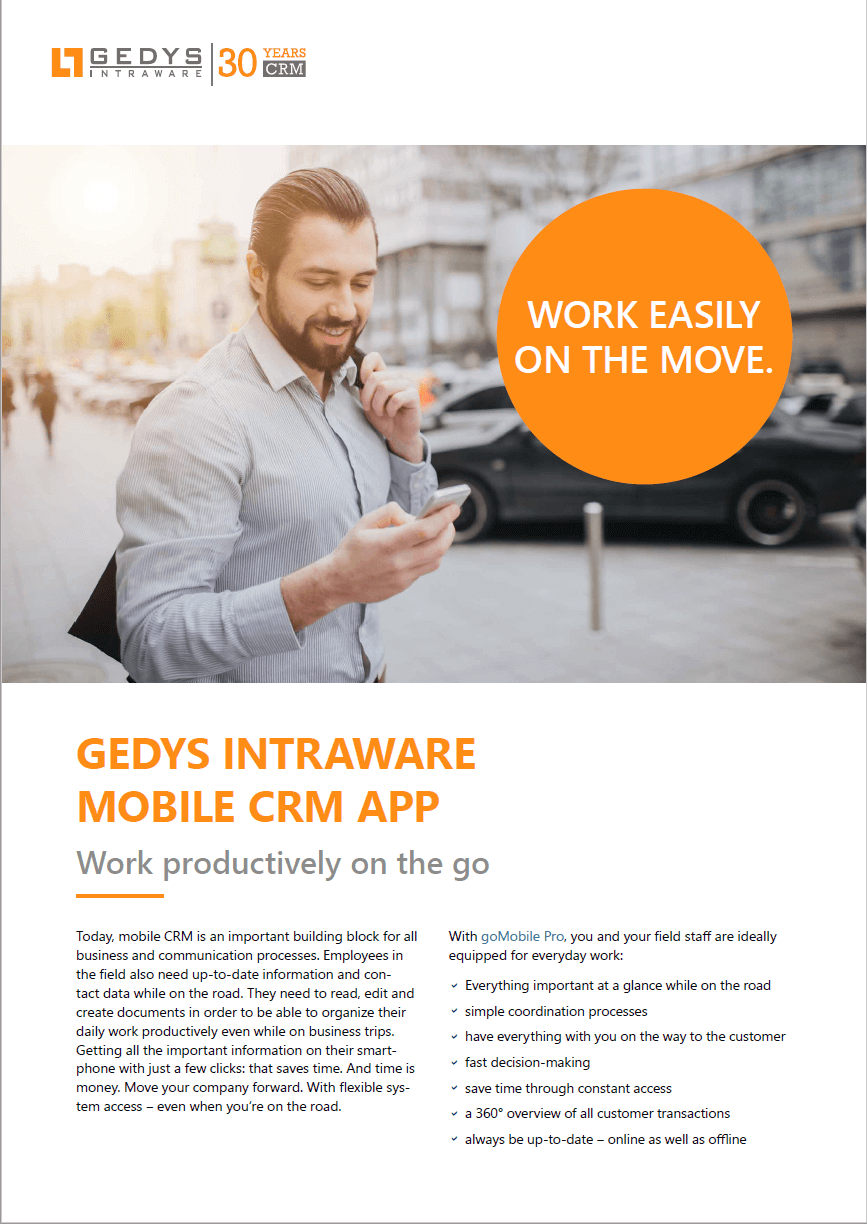 CRM app flyer from GEDYS IntraWare, title page