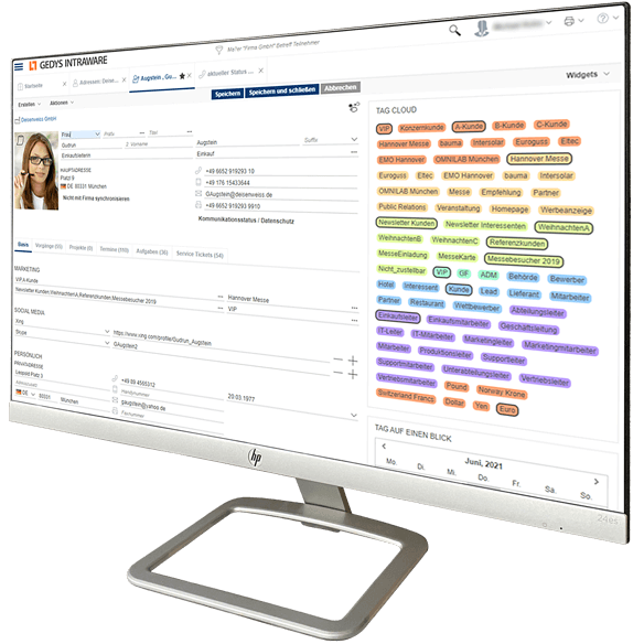 CRM-Software Release 8.12 mit Tag-Cloud auf Desktop, GEDYS IntraWare