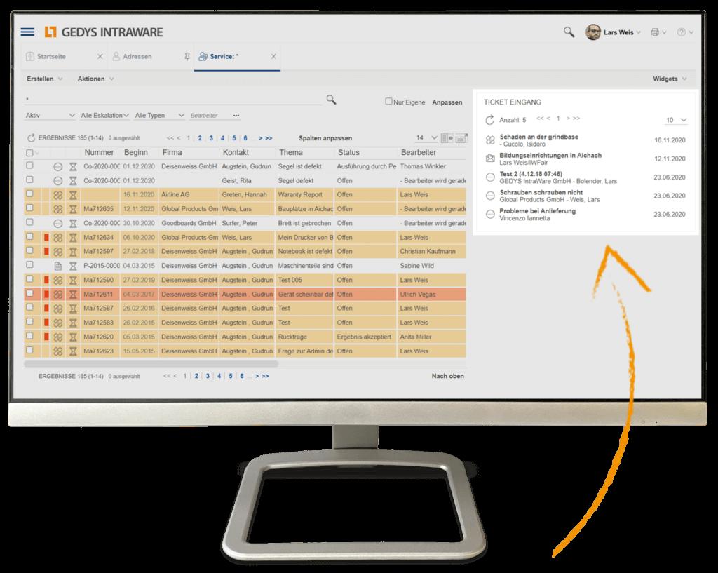 CRM für Service und IT: 360-Grad-Überblick-auf Laptop, GEDYS-IntraWare