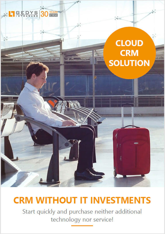 Brochure title to Cloud CRM (including hosting in Germany) from GEDYS IntraWare
