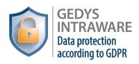 Guarantee logo: GEDYS IntraWare data protection according to GDPR