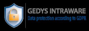 Guarantee logo: GEDYS IntraWare data protection according to GDPR, long version