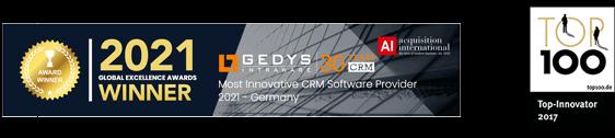 Global Excellence Awards 2021-Logo und Top 100 Award-Top Innovator 2017-Logo von GEDYS IntraWare
