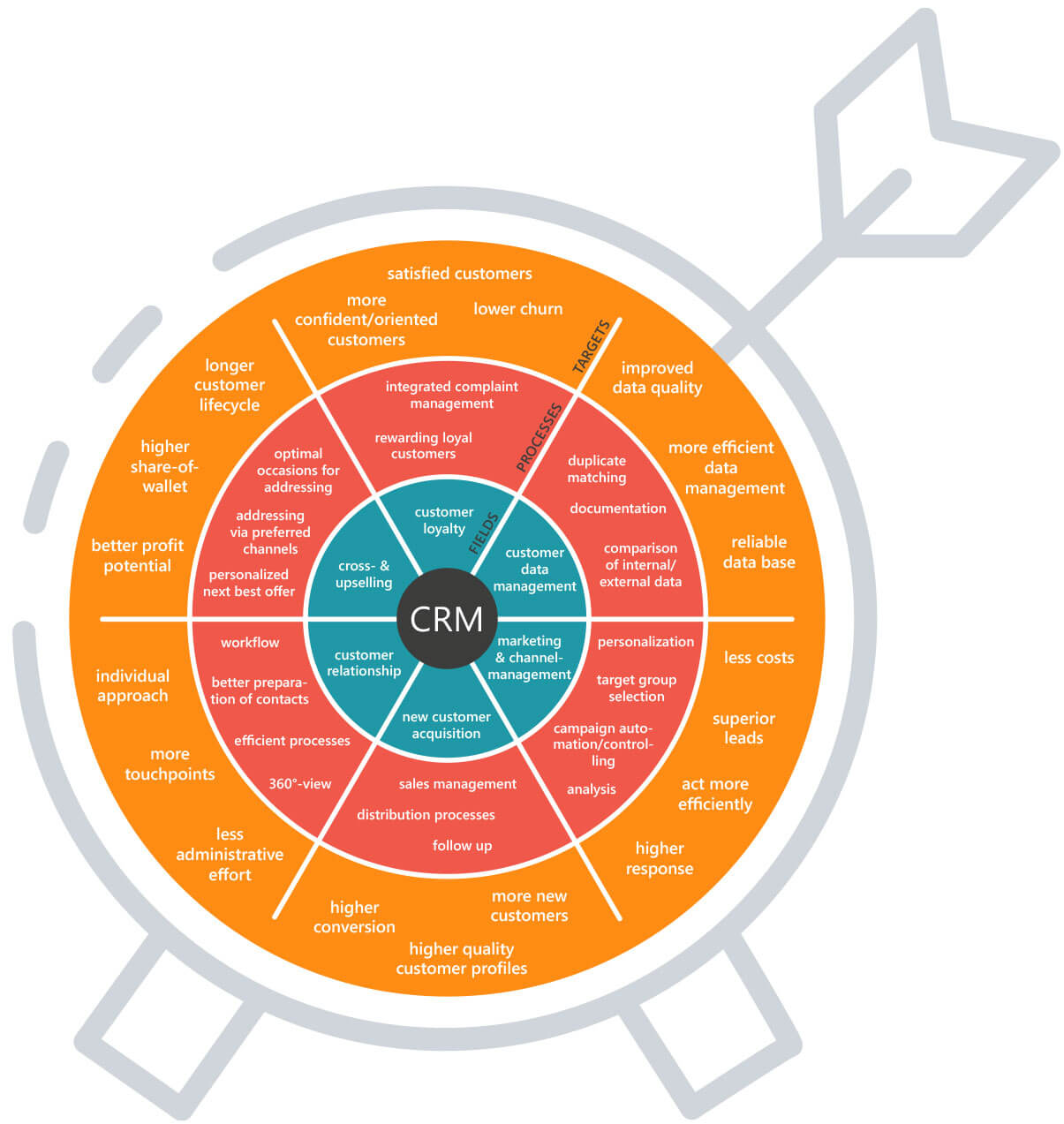 The CRM system: task areas and processes managed by the CRM software for achieving goals in customer-centric companies