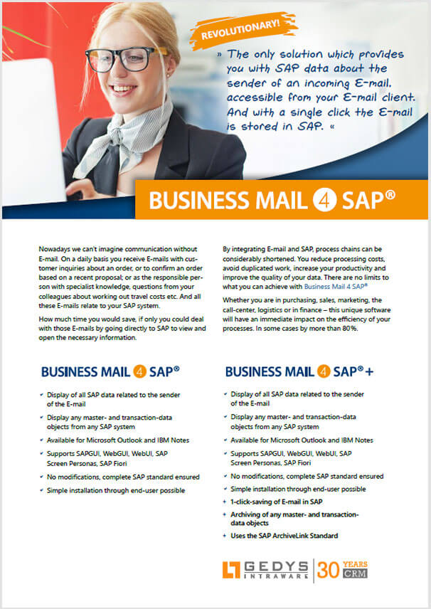 Cover page for the flyer BusinessMail4SAP from GEDYS IntraWare